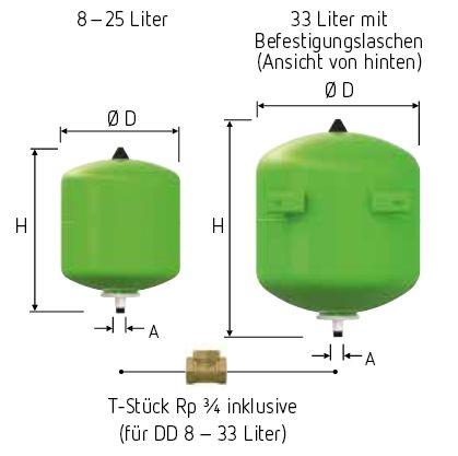 ausdehnungsgef ss trinkwasser reflex refix dd typ 18 vordruc. Black Bedroom Furniture Sets. Home Design Ideas