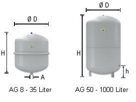 Neu Reflex Membran Ausdehnungsgefäß Typ N (Heizung) 35 Lit PT88